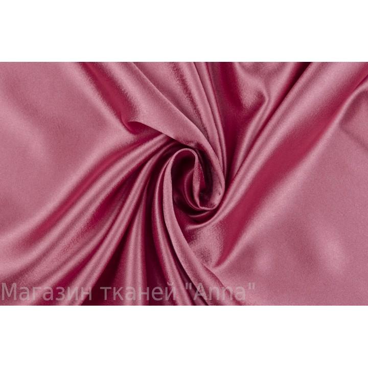 Атласная костюмно-плательная ткань розового цвета с легким блеском