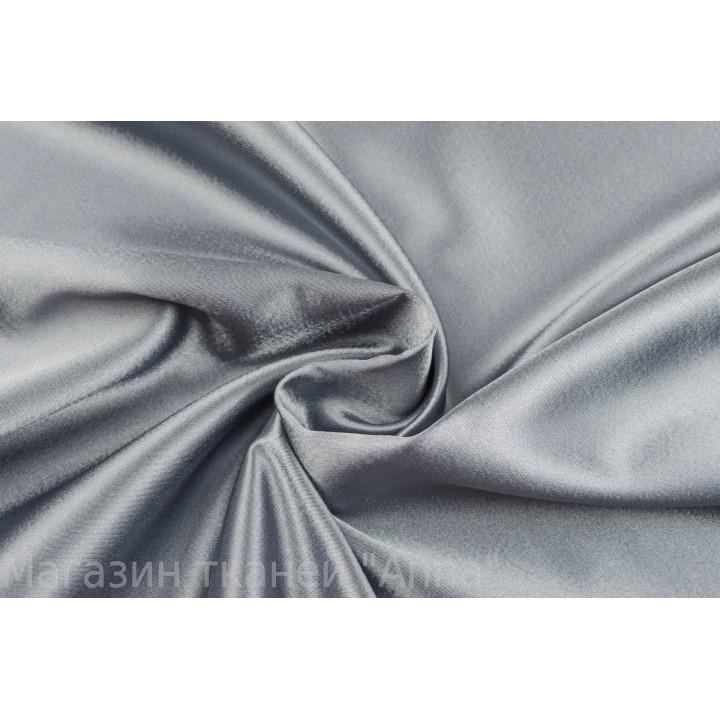 Атласная костюмно-плательная ткань серого цвета с легким блеском
