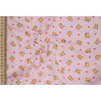 Розовый микровельвет с детским принтом