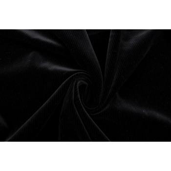 Хлопковый бархат черного цвета с полоской