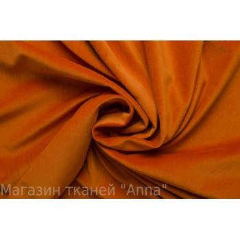 Бархат с эластаном натуральный - темно-оранжевого цвета
