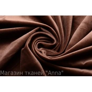 Бархат стрейч хлопковый коричневого цвета (довольно тонкий)