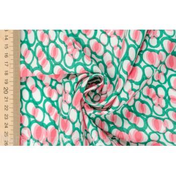 Легкий хлопок с узором в зеленых и розовых тонах