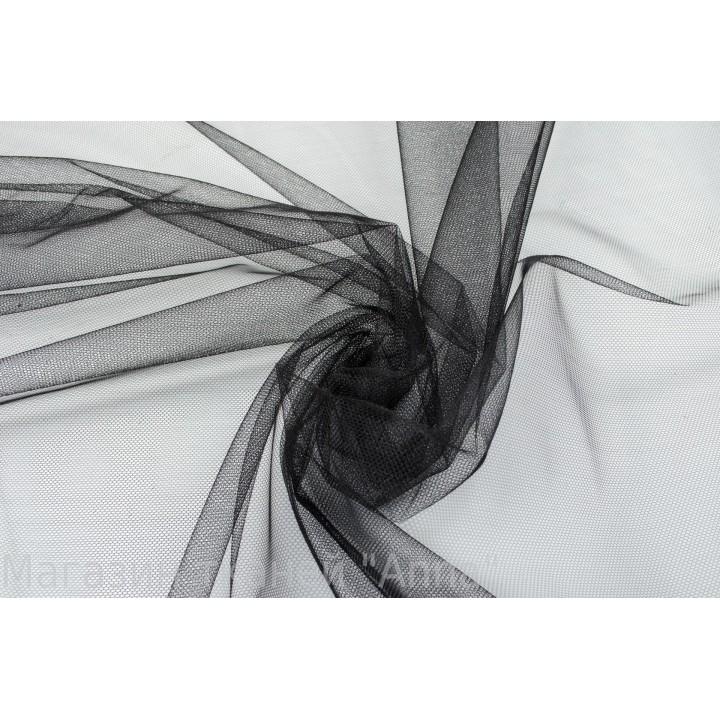 Тонкий мягкий фатин черного цвета