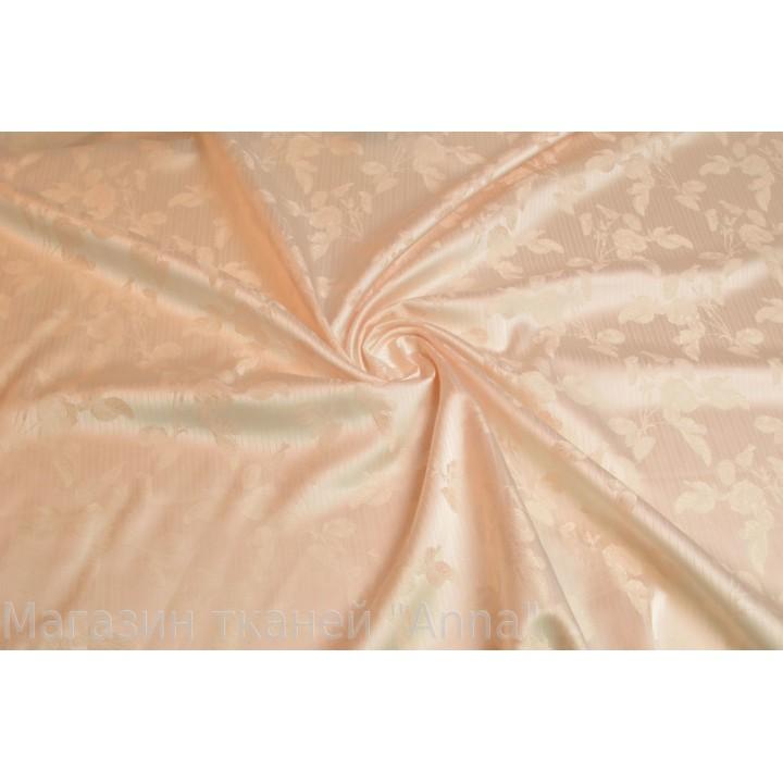 Атласный Жаккард светло персикого цвета с небольшим узором
