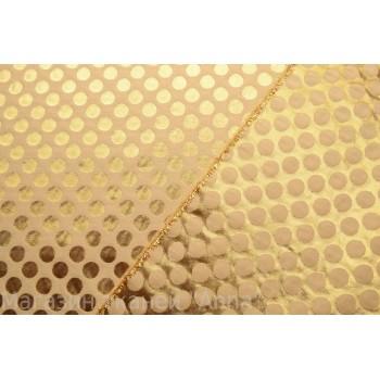 Тонкий жаккард в золотом цвете, горох 3 см в диаметре, ткань хорошо держит форму
