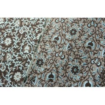 Темно коричневый плотный жаккард, с яркими вкраплениями узоров мятного цвета