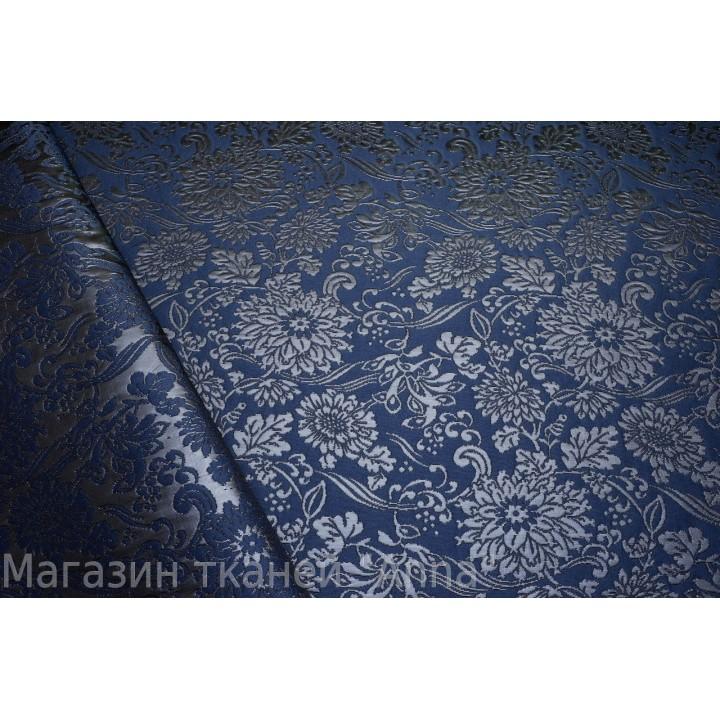 Рельефный цветочный принт на темно синем фоне, жаккард приятный на ощуп и будет делжать форму