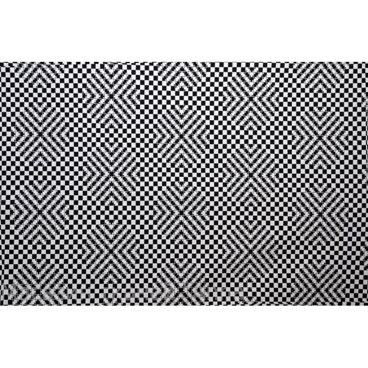 Жаккард хлопковый в черно белую мелкую клетку с эффектом 3D