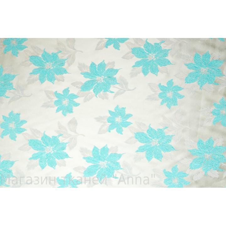 Жаккард с легким блеском и авторской вышивкой в светло голубом цвете на белом фоне