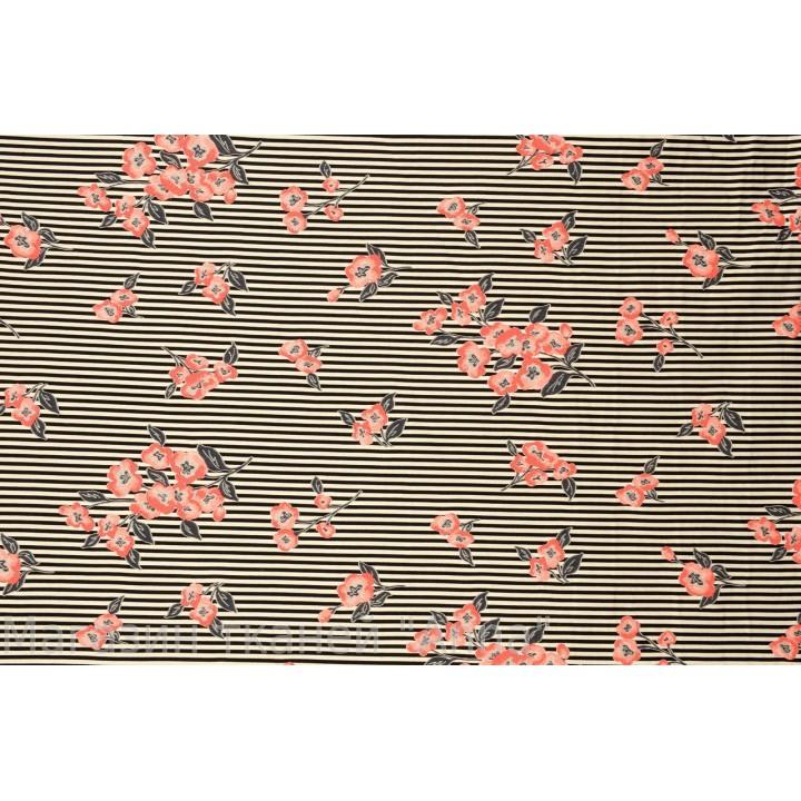 Мягкий жаккард в мелкую поперечную полоску с небольшими цветочками