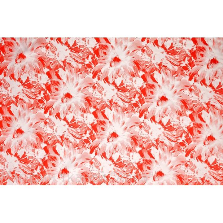 Красно-белый жаккард с легким блеском, жаккард тонкий, но хорошо держит форму.