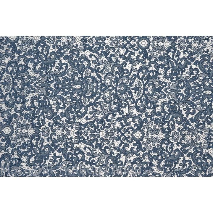 """Жаккард стрейч """"кружевница"""" - очень мягкий на ощуп, хорошо драппируется, темно синий рисунок на серебристой основе."""