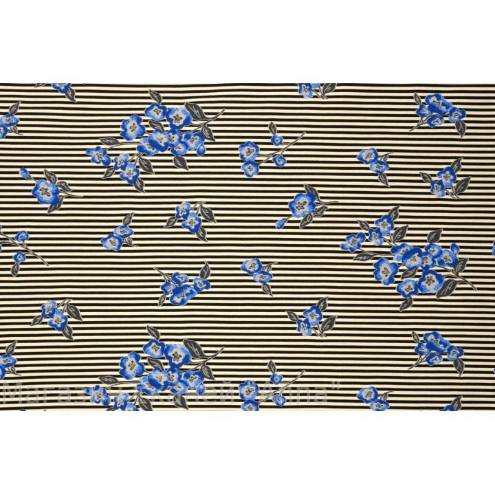 Мягкий жаккард в мелкую поперечную полоску с мелкими цветочками в синих тонах
