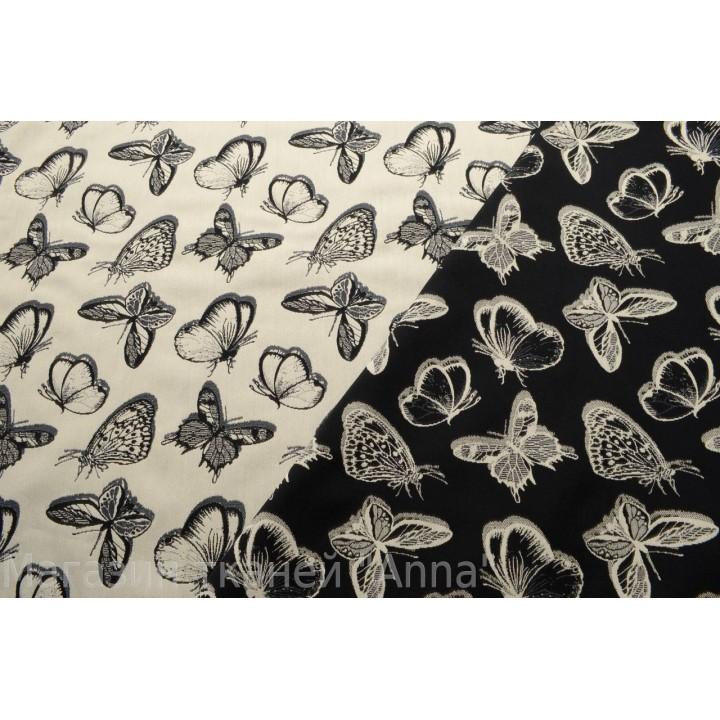 Плотный костюмный жаккард-стрейч с бабочками (двусторонний), в  черно-белой гамме. Принт из коллекции Just Cavalli