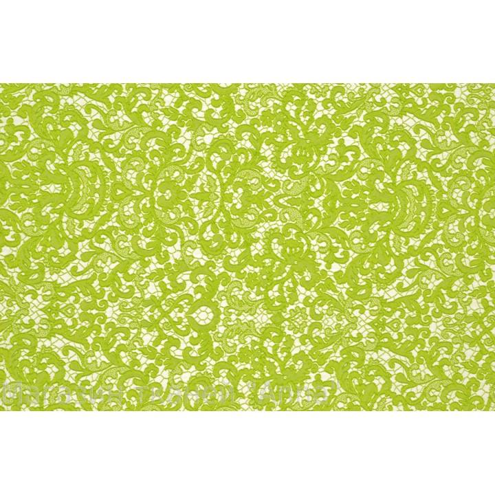 """Жаккард стрейч """"кружевница"""" - очень мягкий на ощуп, хорошо драппируется, в салатовом (цвет лайма) цвете."""