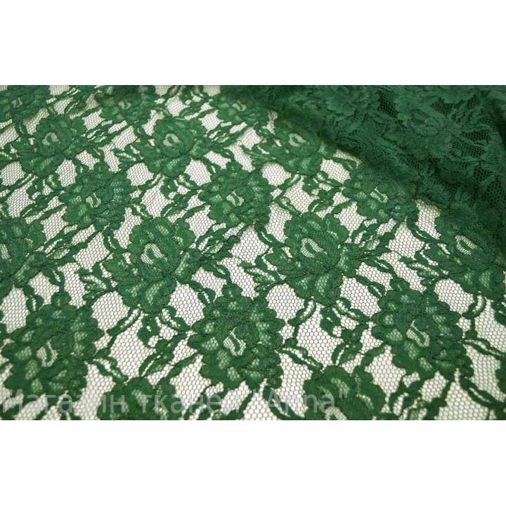 Темно зеленый насыщенный гипюр, фестоны с обоих сторон полотна