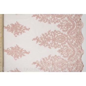 Розовый гипюр, расшитый пайетками