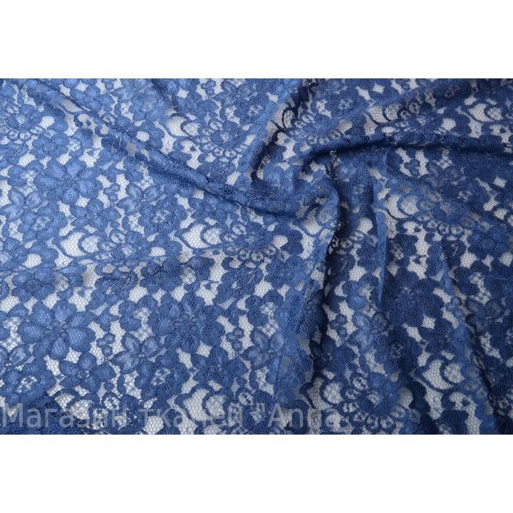 Приятный синий оттенок в мягком гипюре с кордовой нитью