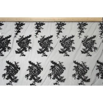 Черное Кружевное полотно, расшитое бусинами и стеклярусом