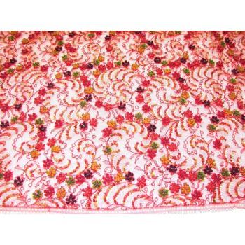 Мягкая сетка ярко-красного цвета с вышивкой цветными пайетками.