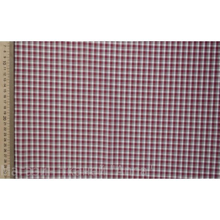Плательный хлопок - мелкая клетка клтека красно-белого цвета