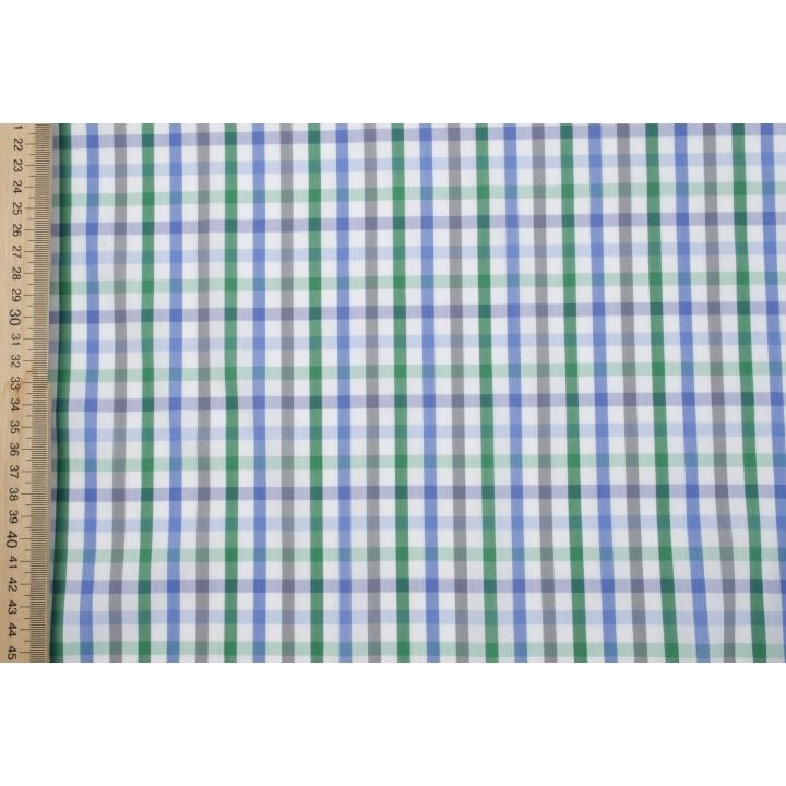 Мелкая клетка в голубом и зеленом цвете для рубашки или платья