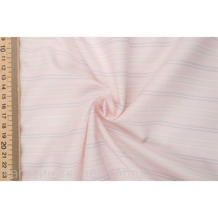 Хлопок для классической сорочки в светло-розовом цвете и бледной полоской