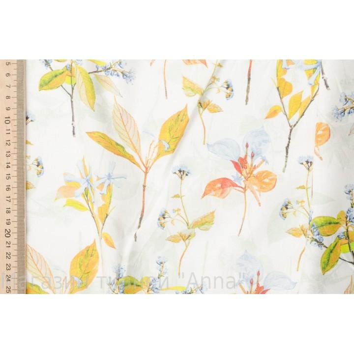 Рубашечный хлопок - Осенняя листва на белом фоне