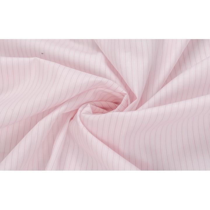 Хлопок бледно-розовый в узкую полоску