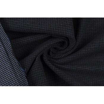 Легкая пальтовая ткань на основе хлопка, мелкая клетка в синих тонах