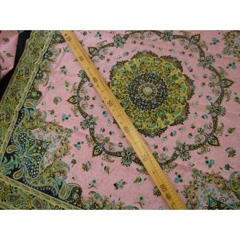 Купонный батист - индийские узоры на розовом фоне