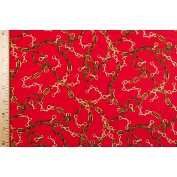 Ярко-красный штапель с цепочками