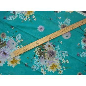 Ярко-бирюзовый батист с цветами