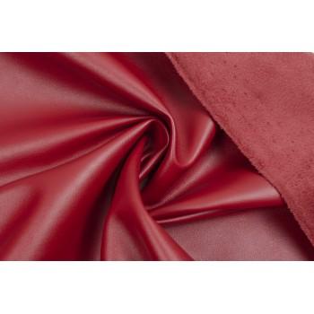 Ярко-красный кожзам для одежды
