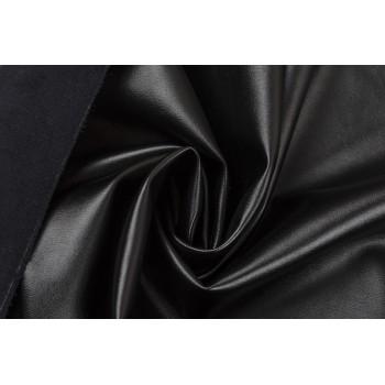 Черный кожзам - мягкая плотная ткань с изнанкой под замшу
