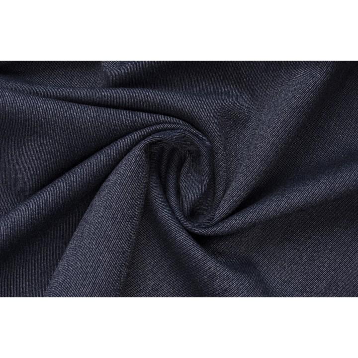 Темно-синяя шерсть-стрейч с фактурной полосатой поверхностью