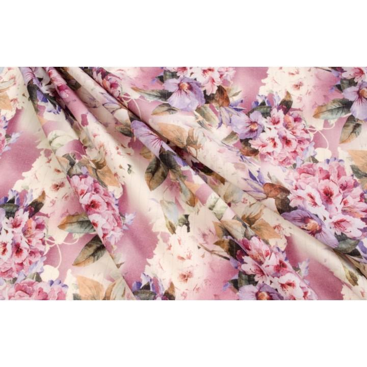 Тонкая плательная шерсть-стрейч с красивыми цветами в розово-сиреневой гамме