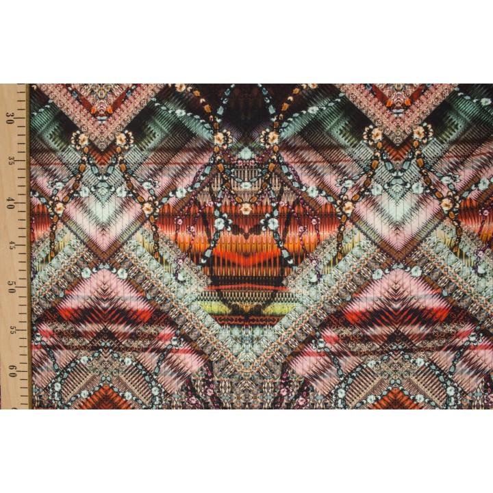 Шерсть-стрейч для платья - эксклюзивный африканский принт