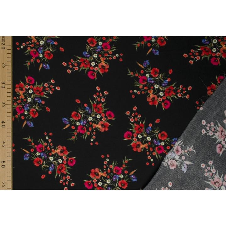 Ткань для платья - красные цветы на черном фоне