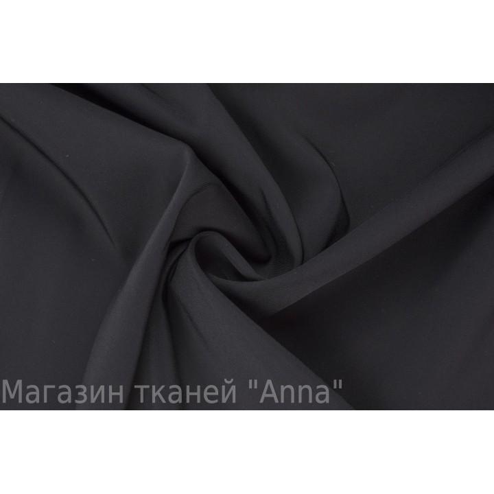 Черная классическая шерсть в мелкий диагональный рубчик
