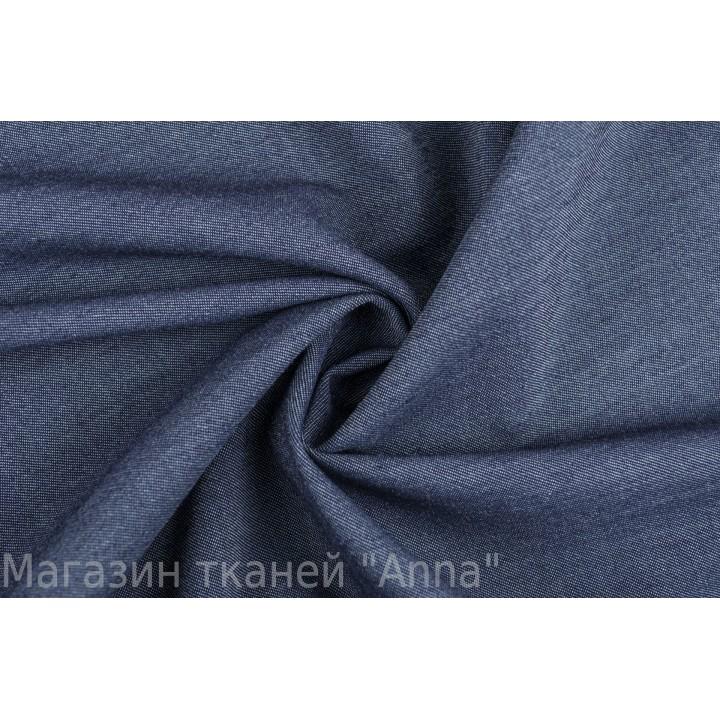 Темно-синяя шерсть с эффектом меланж, текстура напоминает джинс