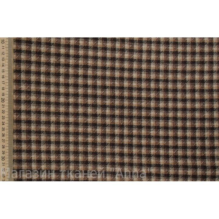 Мягкая гладкая ткань с мелкой клеткой для демисезонного платья или костюма