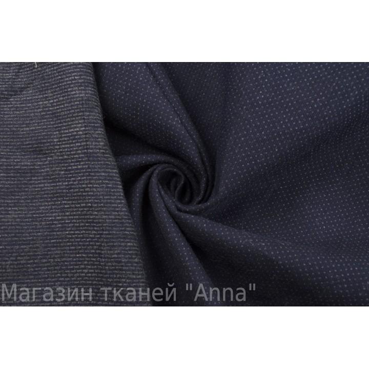 Темно-синяя костюмная ткань стрейч с принтом в мелкую клетку