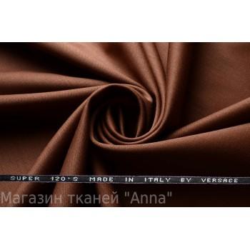 Костюмная шерсть Versace super 120 - оттенок темно-коричневого