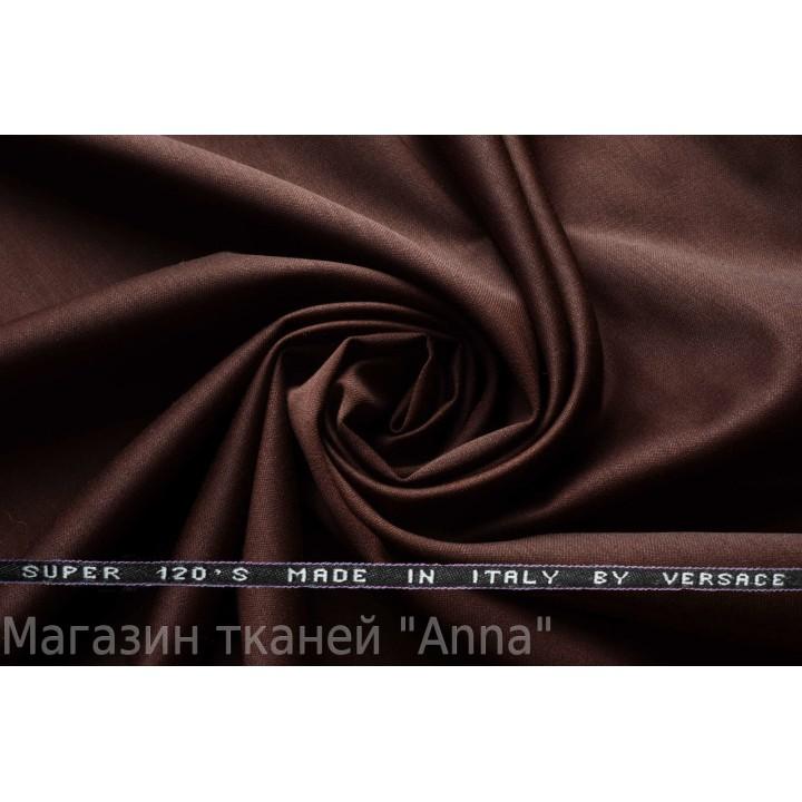 Костюмная шерсть Versace super 120 - красно-коричневый