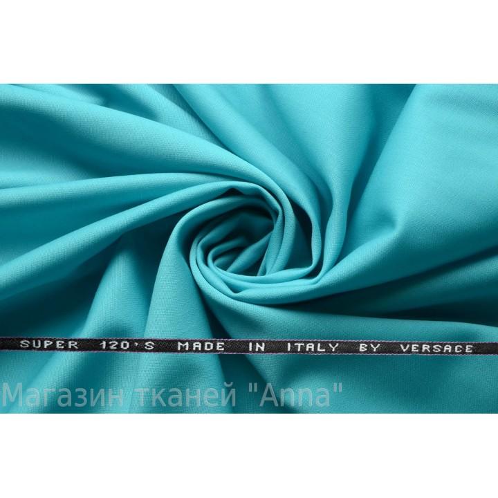 Голубая с бирюзой костюмная шерсть Versace