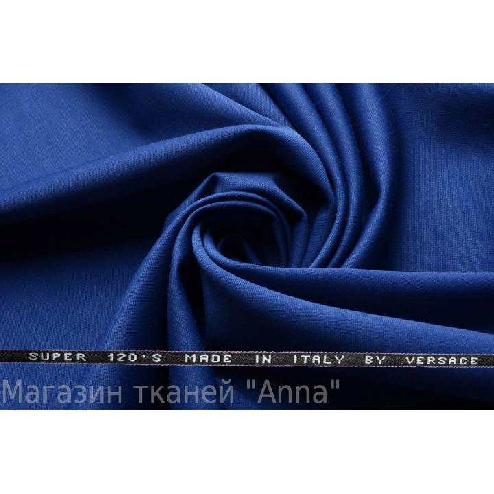 Темно синий, мягкая тонкая костюмная шерсть