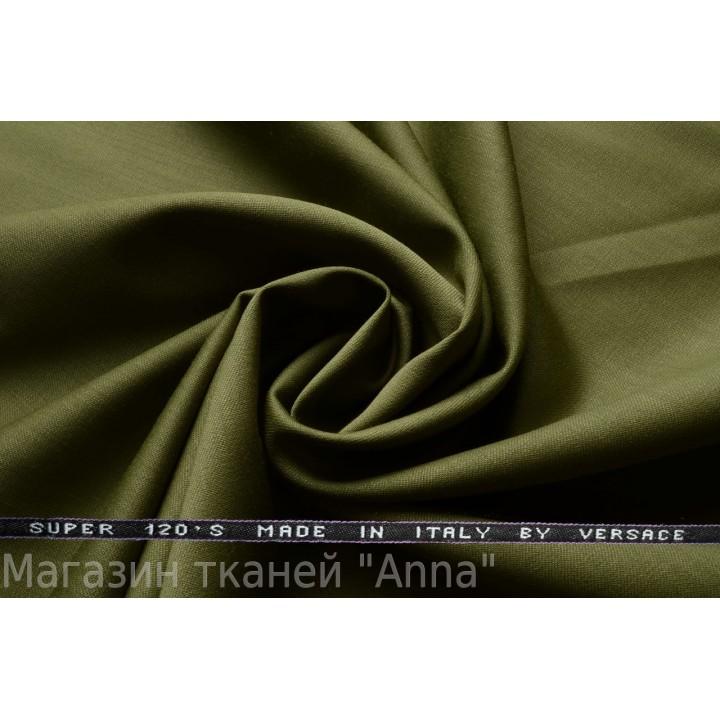 оттенок темно-зеленого - Темно оливковый, мягкая тонкая костюмная шерсть