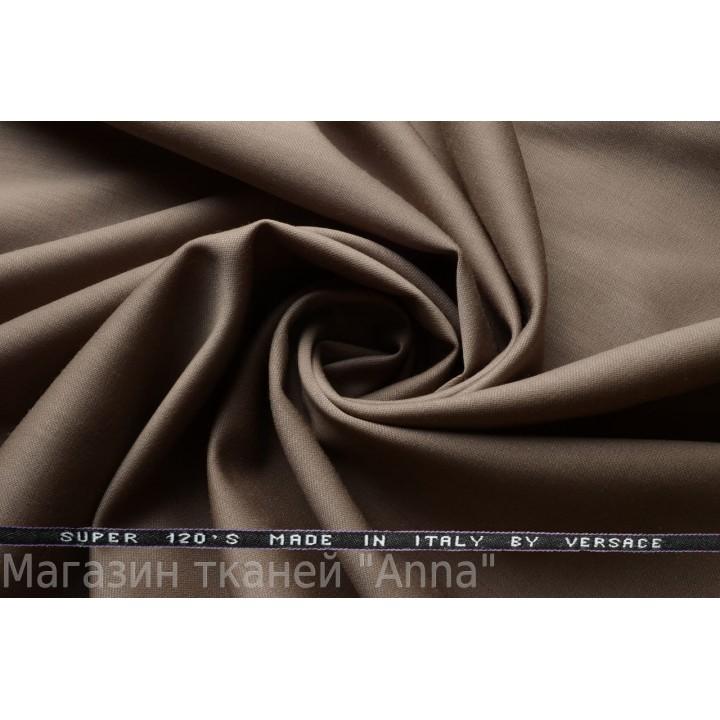 Темный серо-бежевый оттенок, мягкая тонкая костюмная шерсть.